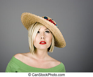 Blone Flowered hat Looking Up