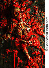 Halloween image / background of blood, bones and guts. Sculpture was built by me for a haunted house from a plastic skeleton, so I hold any copyrights.