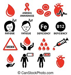 Blood, anemia, human health icons set