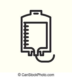 blood bag, blood donation or transfusion simple outline icon