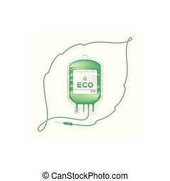 Blood bag green color with Leaf sign frame shape made from cord illustration, eco concept design isolated on white background, with copy space