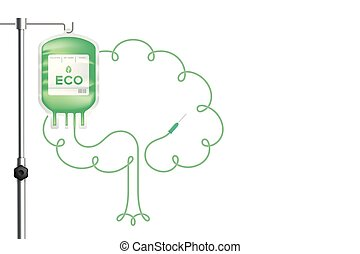Blood bag green color with Tree sign frame shape made from cord illustration, eco concept design isolated on white background, with copy space