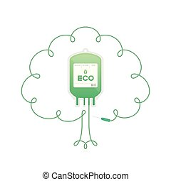 Blood bag green color with Tree sign frame shape made from cord illustration, eco concept flat design isolated on white background, with copy space