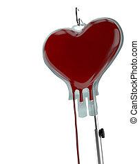 Blood Bag Heart Shape  - Blood donation concept