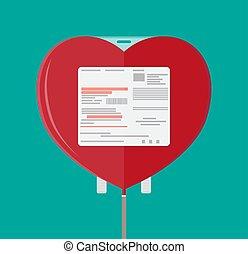 Blood bag in heart shape