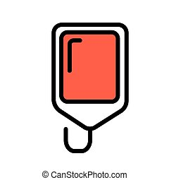 Blood bag, minimal black and white outline icon. Flat vector illustration. Isolated on white background.
