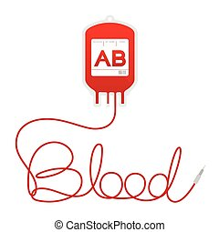 Blood bag type AB red color and blood text made from cord illustration isolated on white background, with copy space
