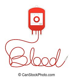 Blood bag type O red color and blood text made from cord illustration isolated on white background, with copy space
