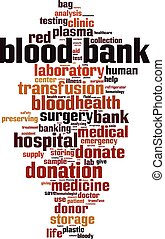 Blood bank word cloud concept. Vector illustration
