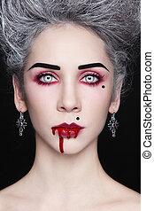 Blood beauty - Portrait of young beautiful stylish gothic...