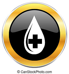 Blood black web icon with golden border isolated on white background. Round glossy button.