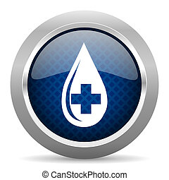 blood blue circle glossy web icon on white background, round button for internet and mobile app