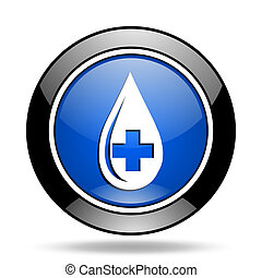 blood blue glossy icon