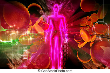 Digital illustration of blood cell and human body in colour background