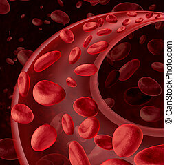 Blood cells circulation symbol as a medical health care concept with a group of three dimensional human cells flowing through a dynamic artery or vein connected to the circulatory system.