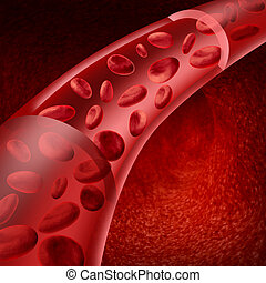 Blood cells flowing through veins and human circulatory system representing a medical health care symbol.