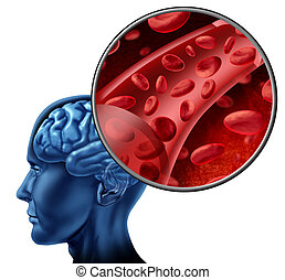 Blood cells in the brain flowing through veins and human...