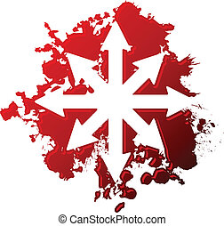 Blood chaos - Chaotic arrow symbol reversed out of blood...