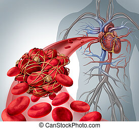 Blood clot risk and clot or thrombosis medical illustration symbol as a group of human blood cells clumped together by sticky platelets and fibrin creating a blockage in an artery or vein leading to the heart.