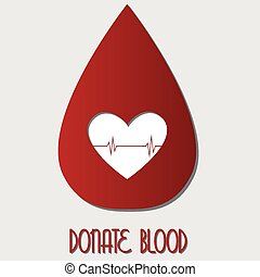 an isolated red drop of blood with text and a white silhouette of a heart
