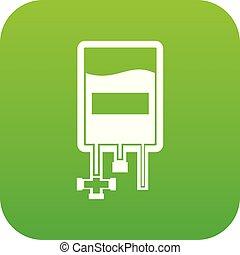 Blood donation bag icon digital green