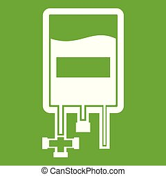 Blood donation bag icon green