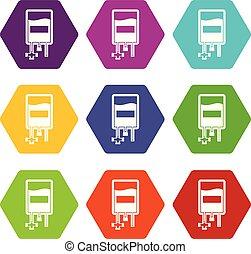 Blood donation bag icon set color hexahedron