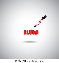blood donation concept vector - syringe with donate blood words