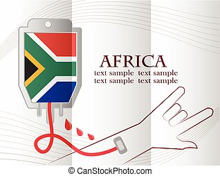 blood donation design made from the flag of Africa, conceptual vector illustration.