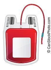 Blood Donation - illustration of blood bag showing blood...