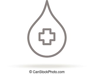 Blood Donation Icon In Trendy Thin Line Style Isolated On White Background. Medical Symbol For Your Design, Apps, Logo, UI. Vector Illustration.