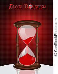 Blood donation - illustration of hourglass for blood...