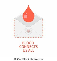 Blood donation poster with an envelope