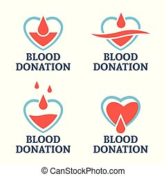 Blood donation set of four vector logo templates