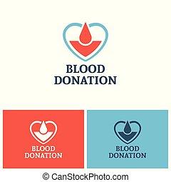 Blood donation vector logo design concept