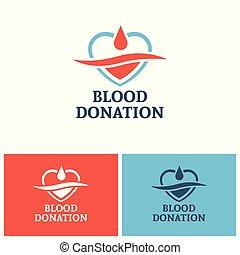 Blood donation vector logo design template