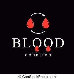 Blood donation vector symbol created with red blood drops...