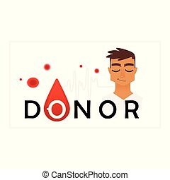 Blood donor colorful icon - smiling young man in white clothes and sign on white background with blood drop and cells.