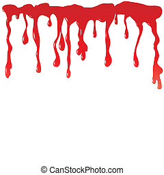 Blood dripping on a white background. Vector illustration