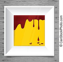Blood dripping on modern frame, blood background. Vector illustr