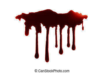 Blood Dripping with Clipping Path Isolated on White background. Halloween Concept