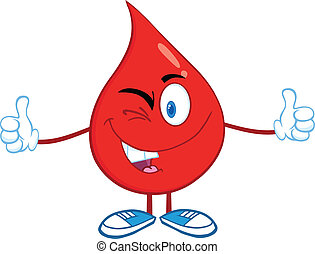 Blood Drop A Double Thumbs Up - Red Blood Drop Cartoon...