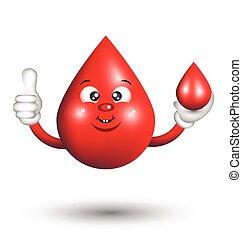 Blood Drop Cartoon Character giving a thumbs up