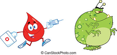 Blood Drop Chasing Germ Or Virus