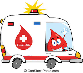 Blood Drop Driving Ambulance Car - Red Blood Drop Character...
