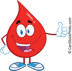 Blood Drop Giving A Thumb Up - Red Blood Drop Character...