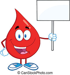 Blood Drop Holding A Blank Sign