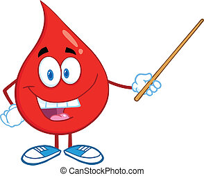 Blood Drop Holding A Pointer - Red Blood Drop Character...