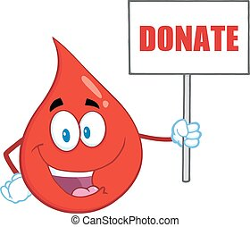 Blood Drop Holding Up A Blank Sign