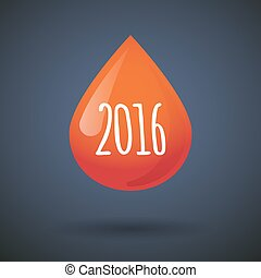 Blood drop icon with a 2016 sign